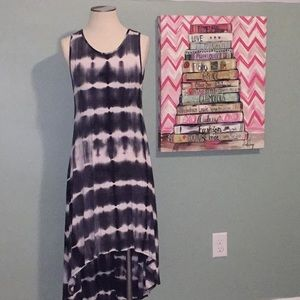 Gray tone tie dye high low tank dress
